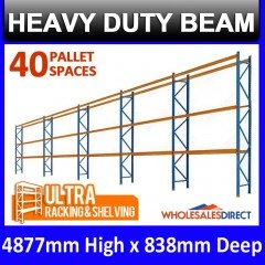 Pallet Racking 5 Bay System 4877mm High 40 Pallet Spaces
