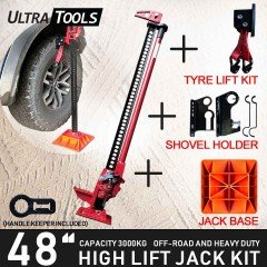 "COMBO - High Lift 48"" Farm Jack Kit Tyre Lift Kit + Shovel Holder + Jack Base + Handle Keeper"