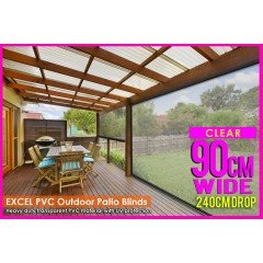 90CM X 240CM Heavy Duty PVC Clear Patio Cafe Blinds Outdoor UV Protect Awning