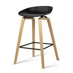 Set Of 2 Wooden Barstools With Metal Footrest Black