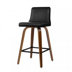 Artiss 2x Kitchen Wooden Bar Stools Swivel Bar Stool Chairs Leather Luxury Black