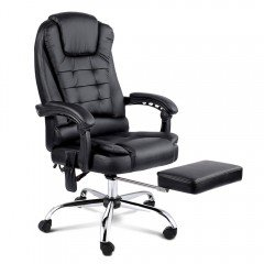 8-point Massage Office Chair With Retractable Footrest Black