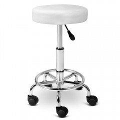 Round Pu Swivel Salon Stool White