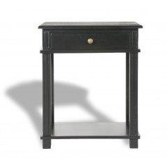 Hamptons Halifax One Drawer Bedside Lamp Table Nightstand - Villa Black