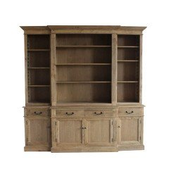 Hamptons Style Natural Oak Buffet and Hutch Sideboard Bookcase Cabinet with Drawers