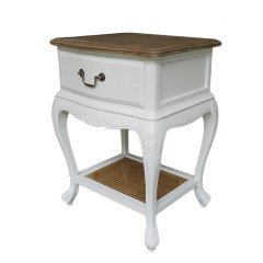 French Provincial White Bedside Lamp Table With Oak Top
