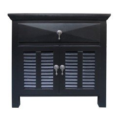 Hamptons Louvre Black Bedside Table 1 Drawer with Door