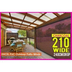 210CM X 240CM Heavy Duty PVC Tinted Patio Cafe Blinds Outdoor UV Protect Awning