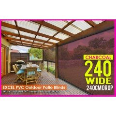 240CM x 240CM Heavy Duty PVC Tinted Patio Cafe Blinds Outdoor UV Protect Awning