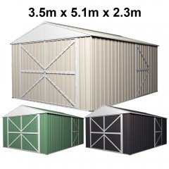 Garage Shed 5.1m x 3.5m x 2.3m with Double Barn Door Workshop