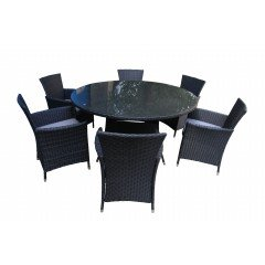 Honolulu 7 Piece 6 Seater Outdoor Round Dining Set Furniture Rattan Steel Frame