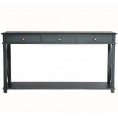 Hamptons Halifax Side Cross Drawers Console Hall Table Furniture Black