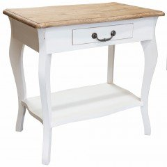 French Classic White Bedside Lamp Side Table with One Drawer