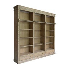 Hamptons Open Library Bookcase with Ladder Natural Oak