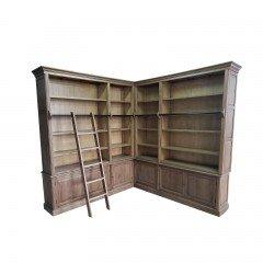 Hamptons Halifax Corner Display Buffet & Hutch Bookcase in Ladder in Natural