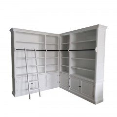 Hamptons Halifax Corner Display Buffet & Hutch Bookcase in Ladder in White