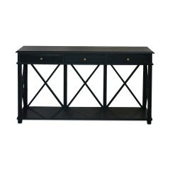 Hamptons Halifax Side Back Cross 3 Drawers Console Hall Table Furniture