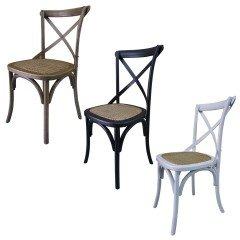 Set of 2 Hamptons Cross Back Dining Chair Birch American Oak Rattan Seat