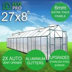 EcoPro 6mm 27 x 8ft  Greenhouse