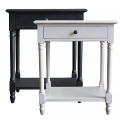 French Provincial Country Bedside Lamp Table Nightstand in Black White