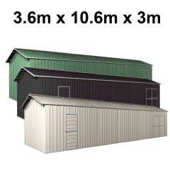 Garage Workshop Shed 10.64m x 3.6m x 3m Side Double Doors + PA doors 7 Frames Design