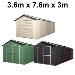 Garage Shed 7.6m x 3.6m x 3m Double Barn Door Gable Workshop Extra High 5 Frames