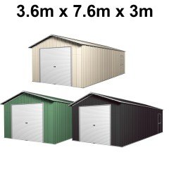 Garage 7.6m x 3.6m x 3m Roller Door Shed Workshop