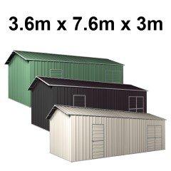 Garage Workshop Shed 7.6m x 3.6m x 3m Side Double Doors + PA doors 5 Frames Design EXTRA High