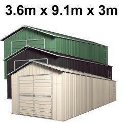 Double Barn Door Garage Shed 9.1m x 3.6m x 3m (Gable) Workshop with 6 Frames EXTRA High
