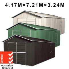 Garage Shed 7.21m x 4.17m x 3.24m Barn Door Workshop + Side PA Door with 4 Frames EXTRA High