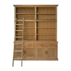 Hamptons Natural Oak Open Double Buffet and Hutch Bookcase with Ladder
