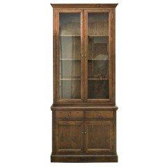 Hampton Halifax 2 Glass Door Hutch Display and Buffet Cabinet Cupboard Natural Oak Dark Brown