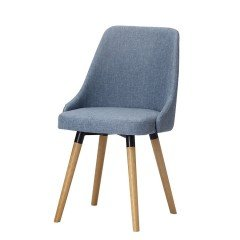 Nordic Set of 2 Scandinavian Upholstered Fabric Dining Chairs - Grey Blue Cream