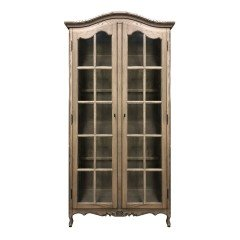 French Provincial Classic Glass Display Cabinet /Bookcase in Natural