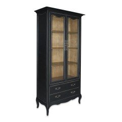 French Provincial Furniture Display Cabinet Black