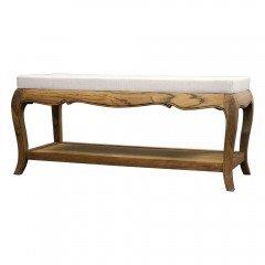 French Provincial Vintage Furniture Bed End Stool Natural Oak