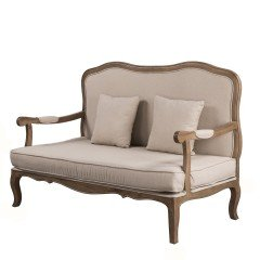 French Provincial Double Sofa with Arm in Natural Oak