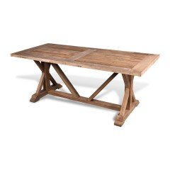 LeMans Rustic Dining Table 200cm Ash Wood Natural French Farmhouse