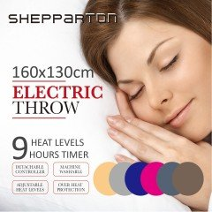 Electric Throw Heated Rug Blanket Coral Fleece Light Grey, Navy, Pink, Beige, Dark Grey, Dark Brown - Shepparton