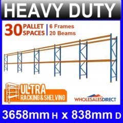 Pallet Racking 5 Bay System 3658mm High 30 Pallet Spaces