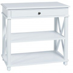 Hamptons Halifax One Drawer Bedside Lamp Table Nightstand in WHITE / BLACK
